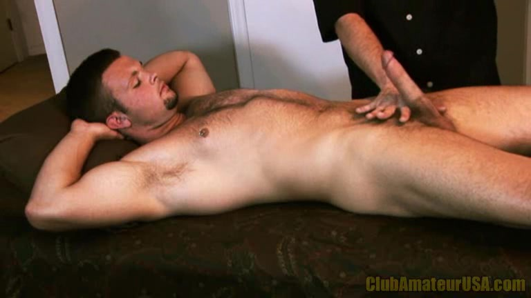 on massage table Handjob
