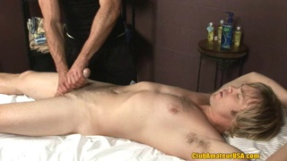 Blond straight stud gets gay handjob