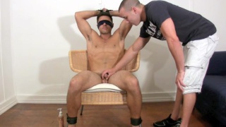 blindfolded and his body explored by a gay guy