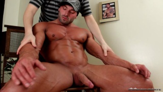muscle worship and big cock blowjob
