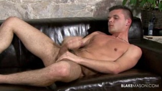 Harrison plays with his hard uncut dick