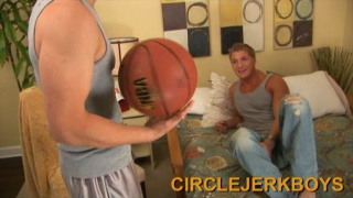 College hunks make out after basketball practice
