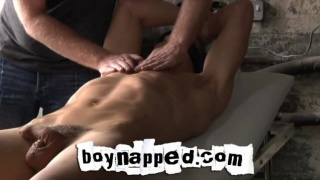 Boy slut tied up and used by his master