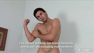 Muscle boy fucks himself with dildo