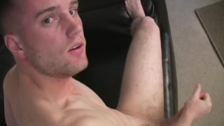 Straight guy with uncut cock stroking