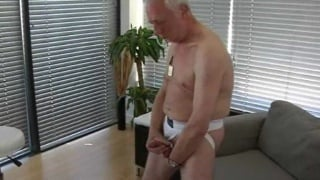 Silver Daddy strokes his hard cock