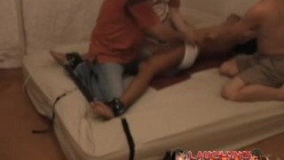 Asian Twink bound and tickled