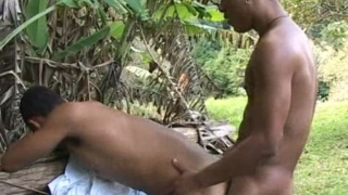 Brazilian studs fuck outdoors