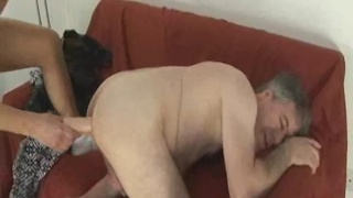 Daddy fucked with dildo by yonger gay lover