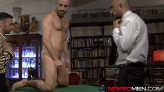 Masculine hard men play strip poker