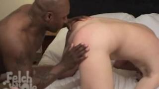 Black dick with lots of cum barebacks white ass