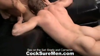 Muscle guys having sex on the set