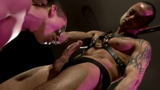 Servicing Leather Man's Uncut Cock