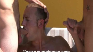 Vincenzo swallow cum from 2 cocks