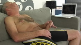 Old man blows his cum load