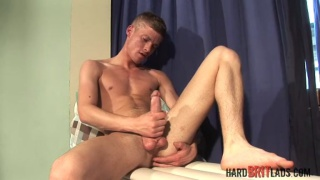 British twink fingers and stroke uncut cock