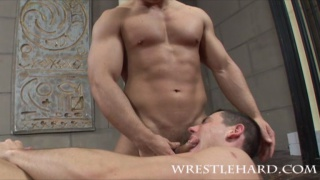Horny wrestlers fuck after match
