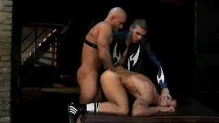 Submisse guy used, abused and fucked by German skinheads