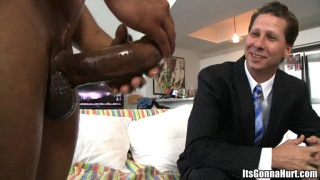 Office guy forced to take a massive cock