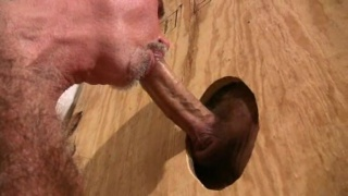 Daddy sucks cock at the gloryhole