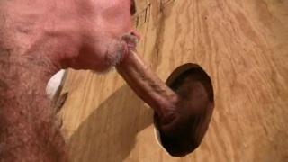 Daddy sucks cock at the gloryhole