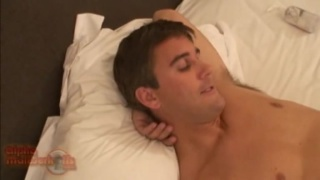 Hunk beating off in his bed