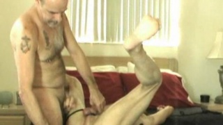 loves stuffing things up his mature ass