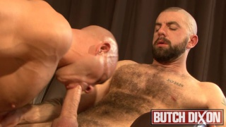 Bald guy gets his butt fucked by a hairy man
