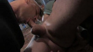 drops to his knees and begins sucking Cameron's rock hard cock