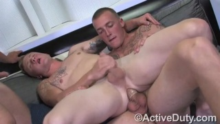 Straight Tattooed Guys Threesome