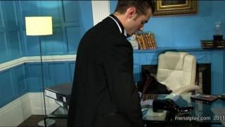 Man in Suit Jerks in Office