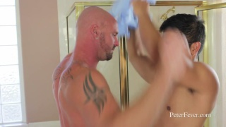 Asian Fucks Bald Stud in Bathroom