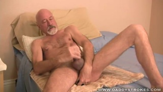 Silver Daddy Plays with Dildos