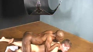 Black dick gets fed into Jason's hole raw