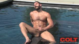 Hairy Man Bob Hager Jerks in Pool