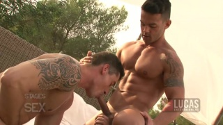 Muscled Guys Swapping Head Outdoors