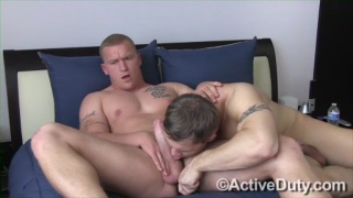 Military Guy's First Blowjob from Guy