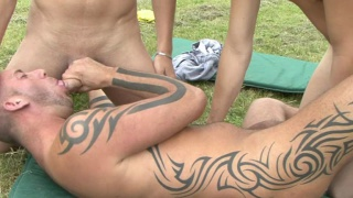 French Guy Giving Head Outdoors