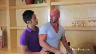 Asian Stud and Bald Hunk Fuck