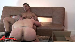 Bald Muscle Man Servicing Dick