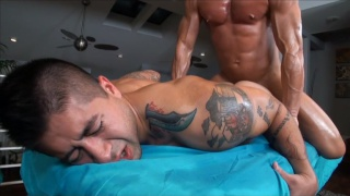 Tattoed Guy Massaged and Fucked