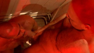Hairy men fuck in mensroom