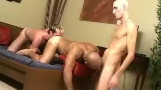 Hard and fast bareback 3way fucking