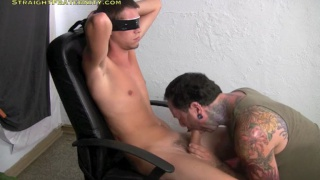 Blindfolded Guy's Handjob