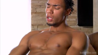 Ripped Ebony Dude Creaming