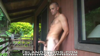 Hairy Surfer Jacking Outside