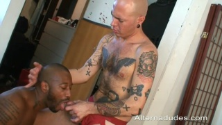 Tattooed Skinhead Feeds Black Cocksucker