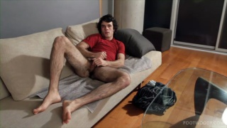 Barefooted Guy Jerks Off