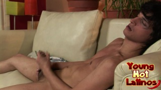 Latin twink furiously jerks his cock