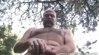 Hairy Man Jerking Outdoors